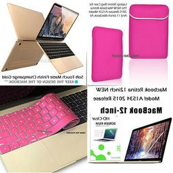 12-inch Macbook NEW Pink Sleeve Wallet Bag Pouch+Matte Case+