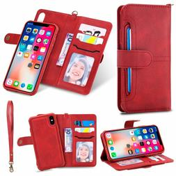 2 in 1 Wallet Case Magnetic Detachable Cover Card Slot for i
