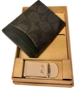 Coach 3 In 1 Card Case Gift Set With Money Clip In Signature