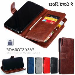 9 Card Slots Wallet Flip Leather Case Cover For iPhone XS Ma