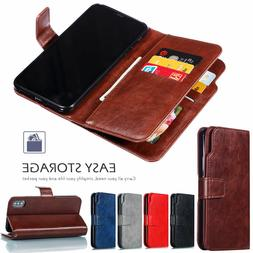 9 Cards Slots Leather Wallet Flip Case Cover For iPhone 11 P