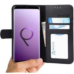 Black Wallet Case Flip Cover w/ Stand for Samsung Galaxy S9