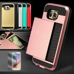Card Pocket ShockProof Slim Hybrid Wallet Case Cover Samsung