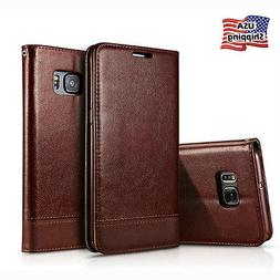 For Samsung Galaxy S7/S6 Edge Stand Cover Leather Wallet Car