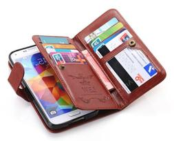 Leather Flip Women Card Wallet Case Cover For Samsung Galaxy