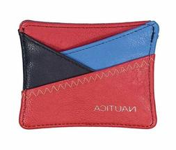 NEW NAUTICA RED+BLUE+BLACK SAIL PATCH FAUX LEATHER CRISS CRO