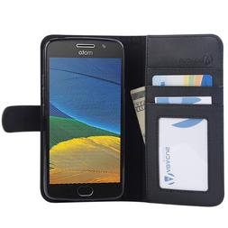 PU Black Wallet Case Cover for Motorola Moto G5  Phone