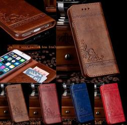 PU Leather Women Men Handbag Card Wallet Phone Case For iPho