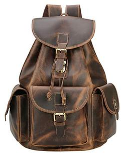 Polare Thick Genuine Leather Backpack Vintage College Laptop