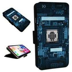 Android Circuit Board - Flip Phone Case Wallet Cover Fits Ip