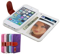 For Apple iPhone 5 5S SE Card ID Holder Leather Magnetic Fli
