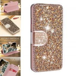 For Apple iPhone 7 8 Plus X XMAX Diamond Bling Flip Wallet C