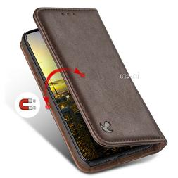 For Apple iPhone X Wallet Case Genuine Real Leather Flip Car