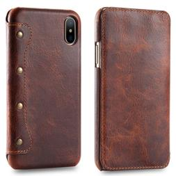 For Apple iPhone X Oil Wax Genuine Leather Slim Flip Wallet