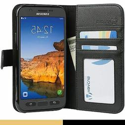 Black Flip Wallet Cover Case for Samsung Galaxy S7 ACTIVE Ph