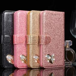 Bling Diamond Magnetic Wallet Leather Case Cover for Samsung