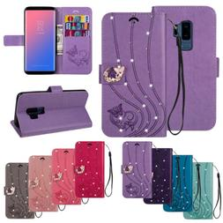 Bling Flip Leather Wallet Phone Case Cover For Samsung Galax