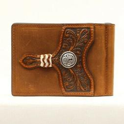 Ariat Brown Embossed Concho Card Case Money Clip Wallet A353