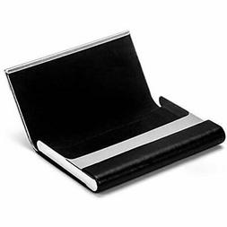 """MaxGear Business Card Holder Leather """" Stainless Steel Multi"""