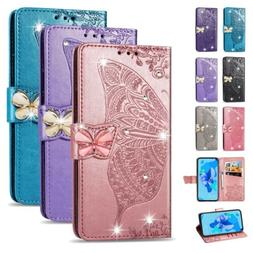Butterfly Luxury Bling Leather Wallet Phone Case Cover For S