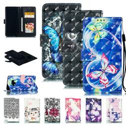 Butterfly Pattern Flip Leather Wallet Case Cover for Samsung
