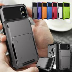 Card Case Side Pocket Rugged Hard Wallet Cover for iPhone XS