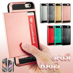 Card Pocket Slide ShockProof Slim Wallet Case Cover for Appl