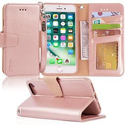 Arae Case for iPhone 7 / iPhone 8, Premium PU Leather Wallet