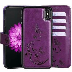 WaterFox Case for iPhone XR, Wallet Leather Case with 2 in 1