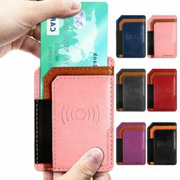 Adhesive Leather Cell Phone Wallet Case Card Holder For iPho