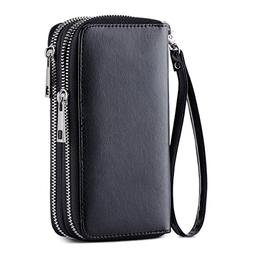 HAWEE Cellphone Wallet Dual Zipper Wristlet Purse with Credi