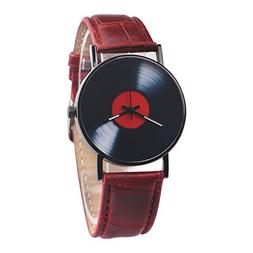 Clearance! Charberry Mens Vinyl Records Watch Fashion Unisex