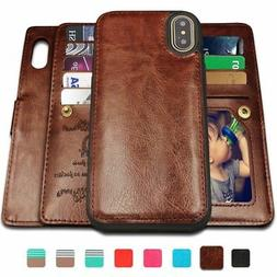 detachable leather wallet 9 card slots case