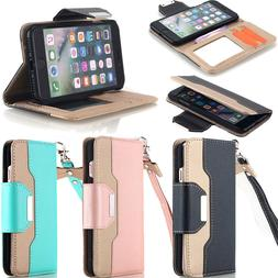 Fr iPhone 11 X 6S 7 8 Plus Leather Flip Cover Credit Card Wr