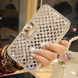 Fashion Bling Diamond Bowknot Crystal Wallet Case Cover For