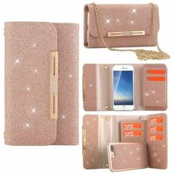 Fashion Bling Glitter Detachable Wallet Women Case Cover for