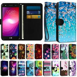 Fashionable Wallet Case Cover w/ Design for LG X Power 2 LV7