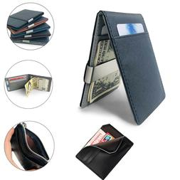 Faux Leather Men's Money Clip Slim Wallet ID Credit Card Hol