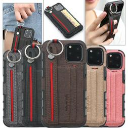 Finger Ring Leather Card Wallet Case For iPhone 11 Pro Max X