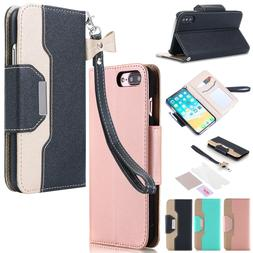 Flip Leather Card Wallet Case Stand Cover For iPhone XS X 7