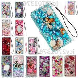 3D Flip Leather Phone Cases Bling diamonds stand wallet cove