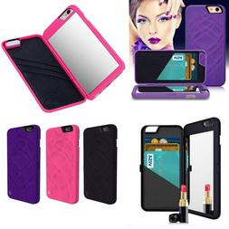 Flip Mirror Hard Cases With Wallet Card Holder Stand Cover F
