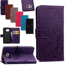 Floral Stand Leather Card Wallet Magnetic Case Cover For Sam
