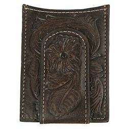 Ariat Floral Tooling Leather Card Case / Money Clip