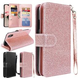 Fr Apple iPhone X 7 8 Plus Bling Glitter Leather Flip Cover