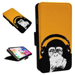 Funny Chimp Headphones Flip Phone Case Wallet Cover Fits Iph