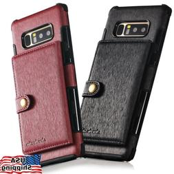 For Galaxy NOTE 8 10 S9 Plus Slim Leather Wallet Armor Case