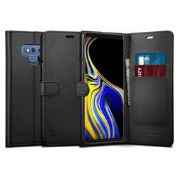 Galaxy Note 9 Case I Spigen®  Luxury Leather Card Pocket Wa