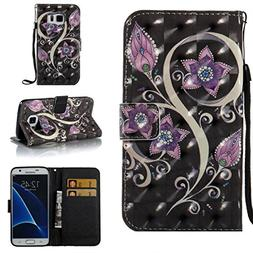 Galaxy S7 Case,Durable Kickstand Wallet Case with Inner Sili