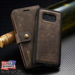 For Galaxy S10/S9/S8/S7/Note 8 Leather Removable Wallet Magn